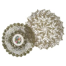 ANTIQUE DOILY~HAND EMBROIDERED PETITPOINT TULLE~NET LACE~GOLD METALLIC~ROSES