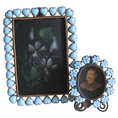 2 French Blue Opaline Jeweled Picture Frames c1900 Antique Hearts and Flowers