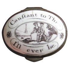 Battersea Enamel Patch Box 18thC Antique Georgian Motto