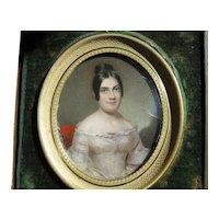 Miniature Portrait Painting Lovely Woman c.1840 Travel Frame