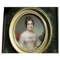 Miniature Portrait Painting Lovely Woman c.1840 Travel Frame