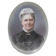 Miniature portrait painting c.1890 Woman on Porcelain Antique Lace Collar Cap