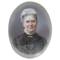 Miniature portrait painting c.1890 Woman on Porcelain Antique Lace Collar Cap