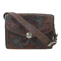 Tooled Leather Purse Ricardo Sterling Silver Ranger Buckle Vintage Carved