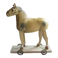 Paper Mache Horse Pull Toy c1910 Antique Doll Display Accessory