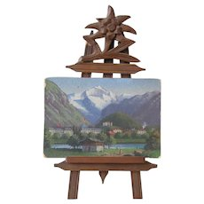 Miniature Painting Black Forest Easel Antique 19th Souvenir Doll Accessory
