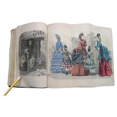 The Lady's Friend 1871 Fashion Plates Bound Volume Magazine Hand Colored