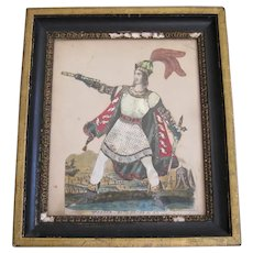 19th C Tinsel Print Victorian Embellished Antique Theater Actor
