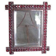 Bohemian Garnet Picture Frame Jeweled Antique Victorian Locket Back