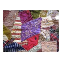 Victorian Crazy Quilt Square c1905 Antique Embroidery Silk Patchwork Welcome