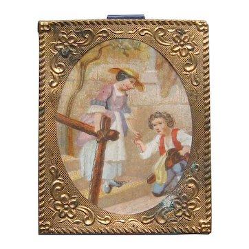 Gold Framed Print for Dollhouse or Room Box Antique Fashion Doll Art
