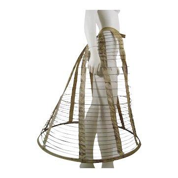 Victorian Cage Crinoline c.1860 Antique Hoop F Hull Skirt Co