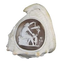 Victorian Cameo Carved Conch Shell c1880 Venus & Cupid Antique