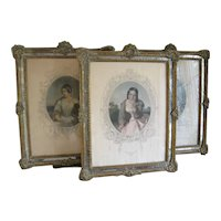 3 French Mirrored 1940s Picture Frames Vintage Prints