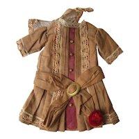 Original Drop Waist Dress for Bisque Doll Antique Fashion