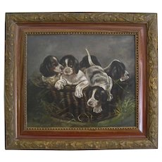 Painting PUPPIES in BASKET Antique Dog Victorian Frame