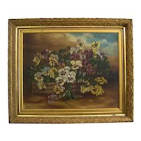BASKET of PANSIES Painting Antique Victorian Gilt Frame Pansy Flowers