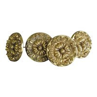 4 VICTORIAN Large Deeply Molded BRASS Curtain TIEBACKS Antique Hardware