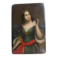 19th Century Papier Mache Snuff Box Antique Lacquer Miniature Portrait Woman