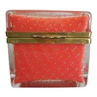 Murano Glass Casket Orange Gold Vintage Table Box