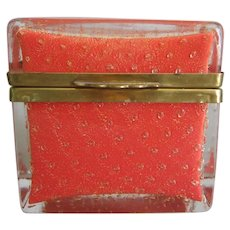 Murano Glass Casket Orange Gold Vintage Table Box