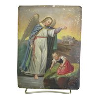 Angel with Young Girl Painting on Tin Antique Religious Art