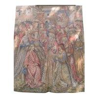 Renaissance Revival Tapestry Painted 8'x10' Antique c1900 Medieval Gothic