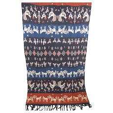 Indonesian Sumba Ikat Cloth Hand Woven Red Indigo Blue Tribal Hanging Blanket