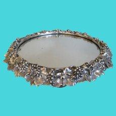 English Silver Plate Plateau Mirror c1856 Antique Elkington & Co Silverplate Grape Vine Tray