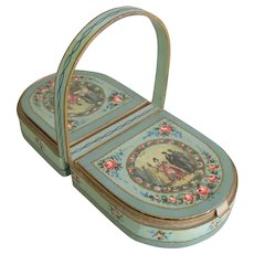 French Candy Box Antique Hand Painted & Litho Chocolate Bonbon Container