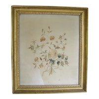 Silkwork Embroidery Floral Bouquet c1800 Antique Gilt Frame