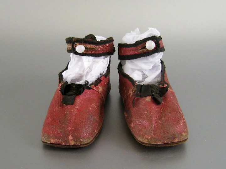 1cd02b6005f40 Antique Red Leather Baby Shoes c.1860 Victorian Child