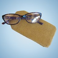 Vintage U.S. Zone Germany Gold Tone Metal Mesh Glasses Case