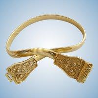 Vintage Accessocraft N.Y.C. Gold Tone Metal Etruscan Expandable Belt