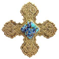 Vintage Accessocraft Embossed Crusader Cross Pin / Pendant