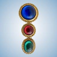 Vintage Accessocraft Colorful Cabochon Brooch