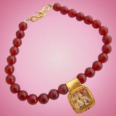 Vintage Prevost Roman Motif Glass Carnelian Bead Choker Necklace
