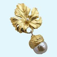 Vintage Catherine Prevost Gold Tone Leaf and Acorn Brooch