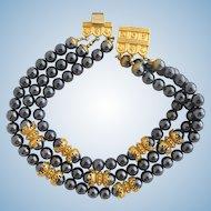 Vintage ACP Prevost Dark Gray Glass Bead Choker Collar Necklace