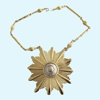 Vintage Huge Accessocraft Sunburst Pendant Necklace