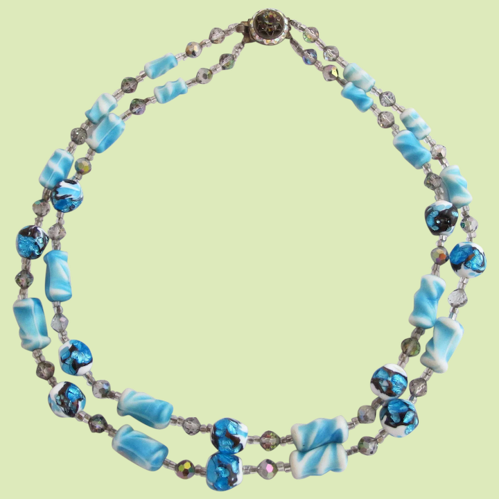 Vintage Blue Art And Foil Glass Bead Necklace 2hearts Jewelry Accessories Ruby Lane