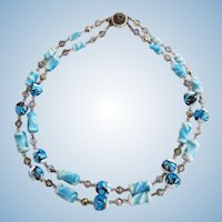 Vintage Blue Art and Foil Glass Bead Necklace