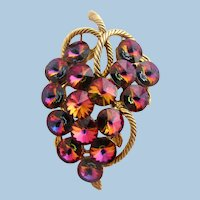 Vintage Rivoli Art Glass Grape Cluster Brooch