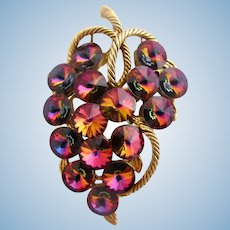 Vintage Rivoli Art Glass Grape Cluster Brooch