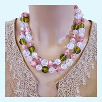 Vintage Art Glass Pink and Olive Crystal Bead Necklace