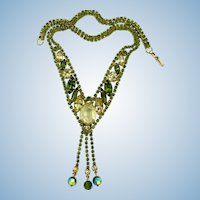 Vintage Alice Caviness Olivine Rhinestone and Dangle Necklace