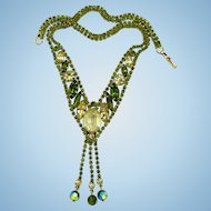 Alice Caviness Olivine Rhinestone and Dangle Necklace
