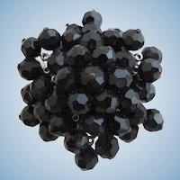 Vintage Alice Caviness Black Bead Brooch Pin