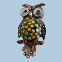 Vintage Alice Caviness Sterling Marcasite Owl Pin