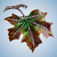 Vintage Alice Caviness Sterling and Marcasite Leaf Brooch